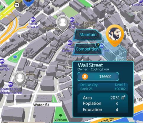 """区块链地产游戏出现:可买卖全球100万块""""地产""""  六本木华尔街在列"""